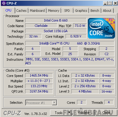 CPU-Z программа диагностики параметров компьютера